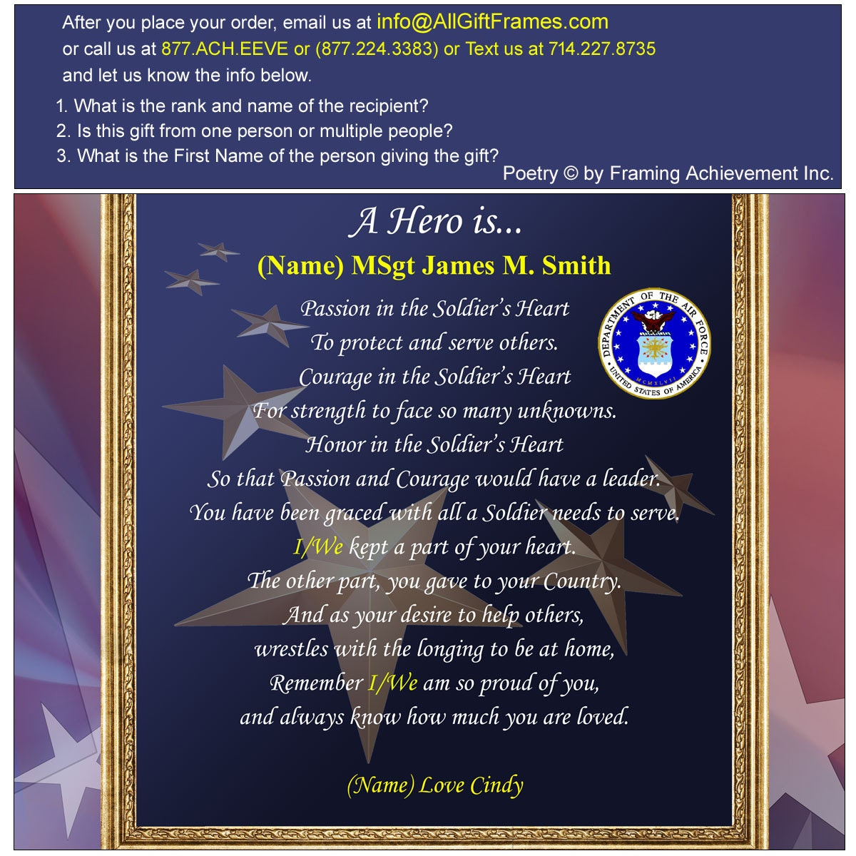 Usaf Gift Printed Mat Poetry Military Personalized 11x14