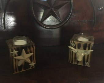 Rustic Western Style Single Candle Holder