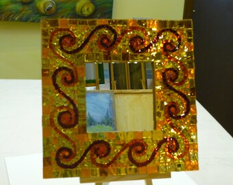 Mirrored glass mosaic and murrine frame with mirror