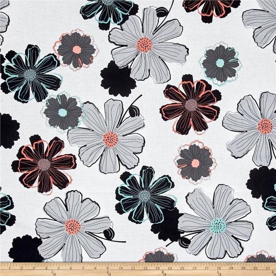 hnliche artikel wie gro e blumen stoff stoff von yard fettes quilten stoff sackleinwand. Black Bedroom Furniture Sets. Home Design Ideas