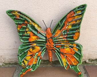 French BUTTERFLY WALL DECORATIVE provence moustier handmade 8