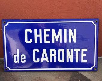 Old French Street Enameled Sign Plaque - vintage caronte 2