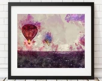 Hot Air Balloon Print - Hot Air Balloon Art, Watercolor Art, Watercolor Painting, Watercolor Print, Purple Art, Whimsical Art, Wall Art