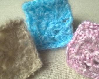 Fluffy Cuffs, crochet cuff pair, crochet bracelet, knitted cuff, handmade cuff, yarn cuff, wool cuff, woolen cuff, wool bracelet, wrist cuff