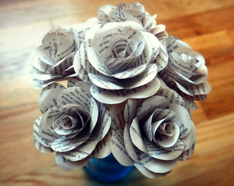 Book Page Flowers, White Book Page Rose