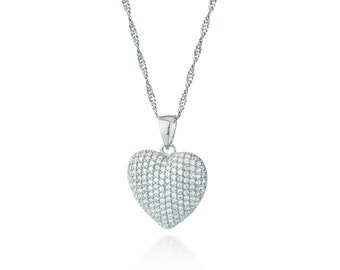 925 Sterling silver heart necklace | zirconia
