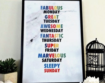 Fabulous week, wall art print,  instant download,