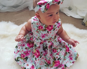 Baby Girls Floral Dress with matching bow headband
