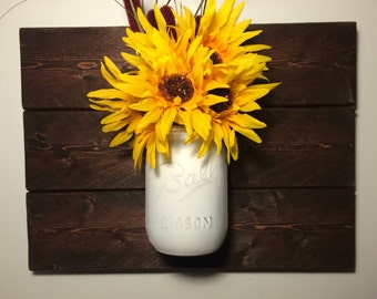 Mason Jar Wall Decor, Rustic Home Decor, Home & Living, Gift, Hanging Mason Jars, Farmhouse Floral Decor