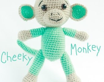 Handmade Amigurumi Crochet Monkey - Amigurumi Monkey - Mint Green - Kids Plush Soft Toy - Doll - Green Monkey - Crochet Monkey - Kids Toys