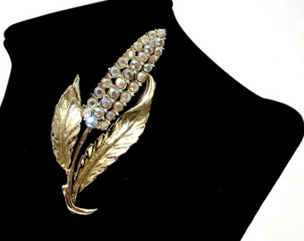 Vintage goldtone corn brooch, Ladies costume jewelry, Scarf pin, Fall autumn back to school fashion, Sparkly clear rhinestones
