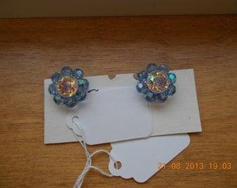 Blue and clear rhinestone clip earrings