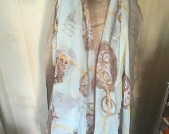 XL Clock Fashion Shawl Wrap