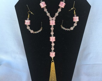 Rose Quartz/ Pink Ceramic/ Crystals/ Necklace & Earrings