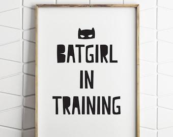 batgirl in training, batgirl print, girl superhero decor, girl superhero print, girl superhero prints, batgirl printable