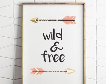 wild and free kids decor, tribal wall decor, printable kids wall decor, wild and free print, kids printable tribal art