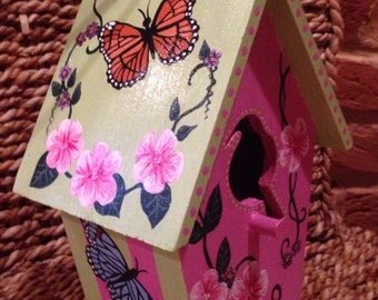 Hand painted Butterfly birdhouse