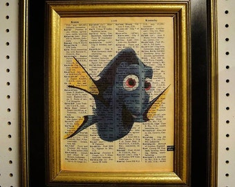 finding Dory Art print on Vintage Dictionary Page