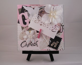 "Original Mixed Media Collage Art, 5x5, Canvas, ""Cherish,"" Baby Girl"