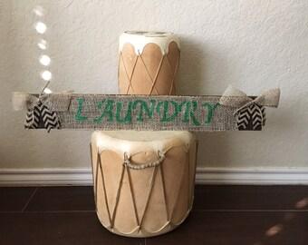 Laundry Burlap design hand painted sign