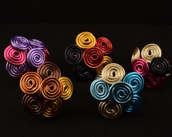 flowers in aluminum wire rings