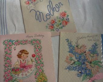Vintage used birthday cards.  1940's - 1950's