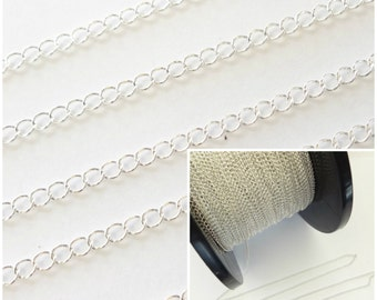 Sterling Silver Curb Chain 3x2.4mm 1Ft 5Ft Jewellery Making