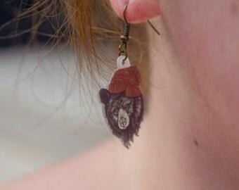 Hipster Bear Earrings