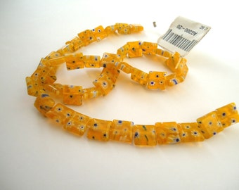 Yellow Millefiori Glass Beads - Glass Square Beads - Flat Square Beads - Yellow Glass Beads - Yellow Flower Beads - Yellow Square Beads