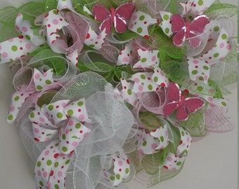 Pink, White and Lime Green Butterfly Wreath
