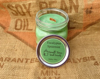 16 ounce mason jar soy candle Eucalyptus Spearmint