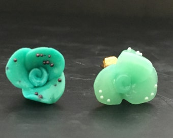 Cute flower earrings blue and turquois