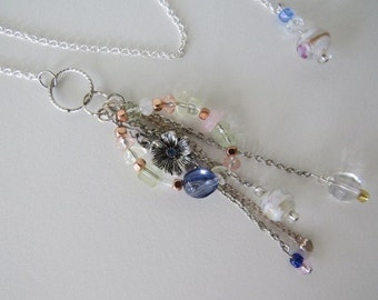 Beaded Chain Bookmark with glass beads with blue accent