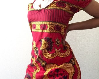 red african ankara shift dress with collar
