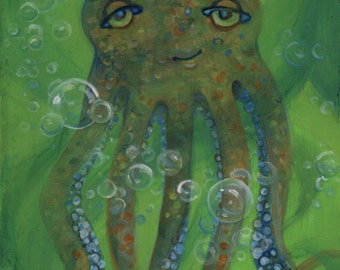Octopus, Oil Painting, Nursery Decor, Sea Creature, Beach Decor