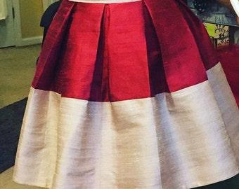 Hand made raw silk skirt