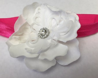 White Feather Flower Pink Baby Headband