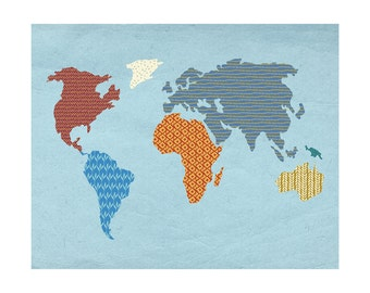 "Patterned World Map (8"" x 10"" Print)"