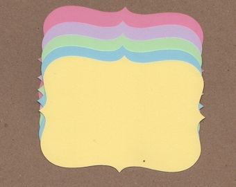 10 - 3 1/2 inch Tall Top Note Die Cuts for Paper Crafts Pastels