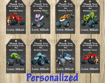 Blaze and the Monster Machines Favor Tag, Favor Bag Toppers, Monster Machines Thank You Tags, Personalized