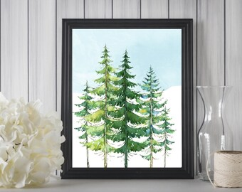 Instant Printable Evergreen Trees with Sky/Cabin Print/11x14/8x10/5x7,Boys Room, Forrest Printable/Up North Cabin/Mountain Trees/ Watercolor