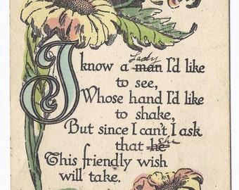 1913 Old Vintage Postcard, Sunflowers, 1c US Stamp, Forsyth, Montana
