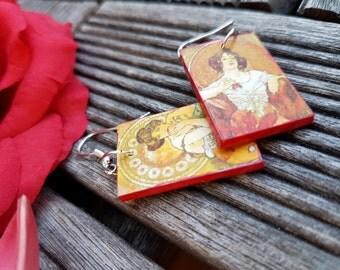 Mucha Four Seasons art earrings - Art Nouveau, light, wooden, dangle earrings