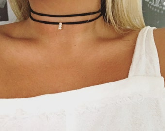 Black suede two cord choker with pearl drop