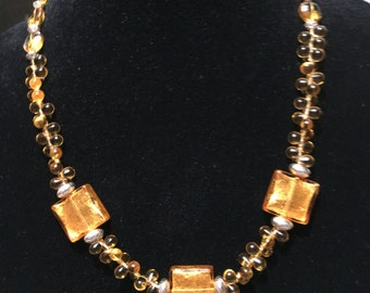 Gold glass and Murano beaded necklace