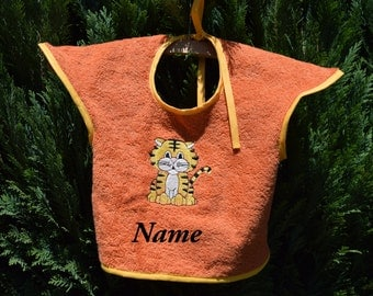 "Bib Terra cotta, orange, with a motif of ""Tiger"", baby, personalizable, bib,"