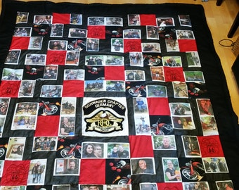 "Patchwork quilt ""Memories"" with images, photos, embroidered for personalization, customizable"
