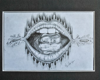 Original Pencil Drawing Lips and Hard Candy