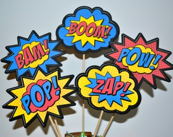 Superhero Action Words Set of 5 Centerpiece Picks ( Double-sided)