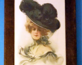 Lady in large Black  Hat